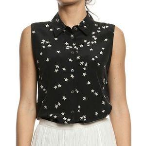EQUIPMENT Colleen Sleeveless Silk Shirt Star Print